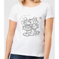 Disney Mickey Mouse Kissing Sketch Women's T-Shirt - White - 3XL - White